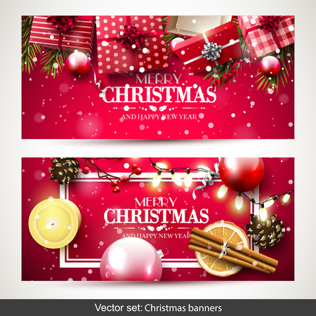 traditional pattern: Vector set of two Christmas banners with red gift boxes, branches and baubles on red background