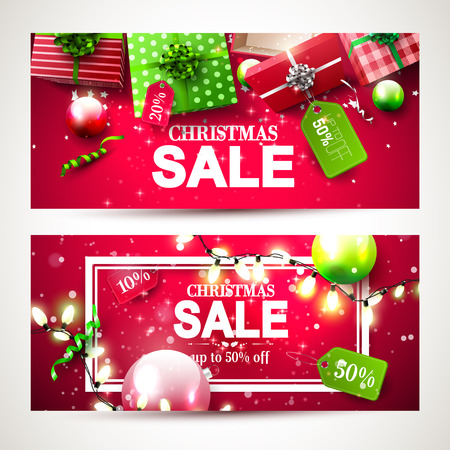 Christmas sale headers with red and green gift boxes with price tags
