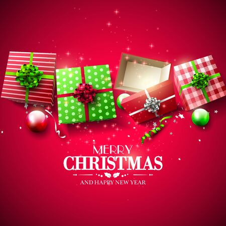 christmas celebration: Christmas red and green gift boxes and baubles on red background - Luxury Christmas greeting card