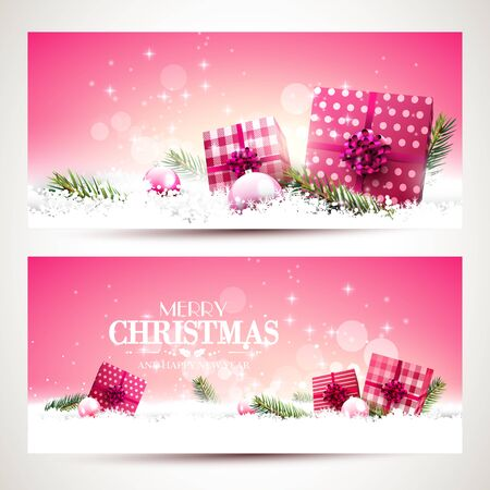 sylvester: Vector set of two Christmas banners with pink gift boxes and baubles in the snow