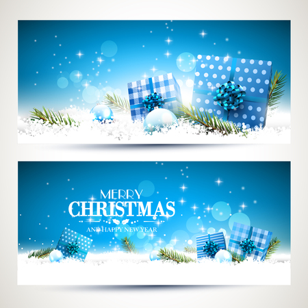 Vector set of two Christmas banners with blue gift boxes and baubles in the snow