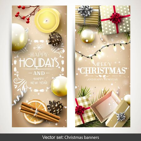 silver: Vector set of two Christmas banners with gold gift boxes, branches and baubles on gold background