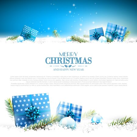 Luxury Christmas greeting card with gift boxes, baubles and branches in the snow and plaace for your message