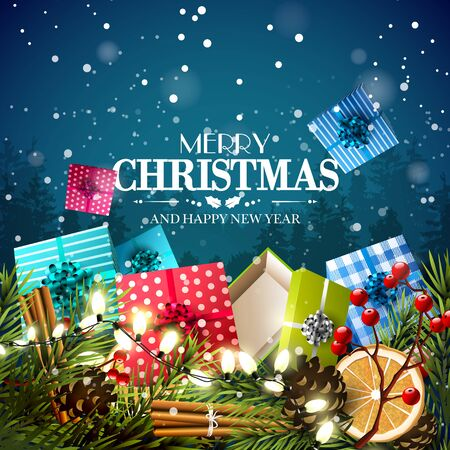 Christmas greeting card with traditional decorations and gift boxes in front of night landscape