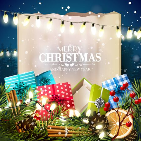 Christmas greeting card with traditional decorations,gift boxes and paper in front of night landscape