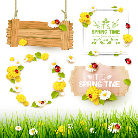 Spring collection of labels, signs and borders Illustration