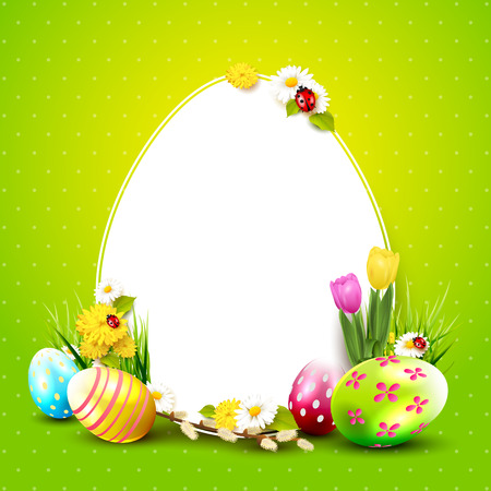 Cute Easter background with flowers, Easter eggs and place for your text