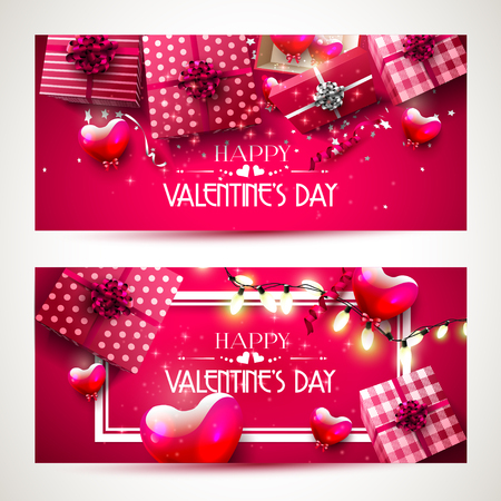 romance: Luxury Valentines Day horizontal headers with gift boxes and hearts