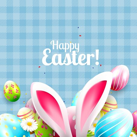 animal ear: Cute Easter greeting card with bunny ears and colorful Easter eggs on blue background Illustration