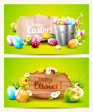 Easter horizontal headers with wooden sign, paper label and Easter decorations on green background