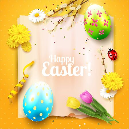 Cute Easter greeting card with flowers, Easter eggs and ladybug on orange background