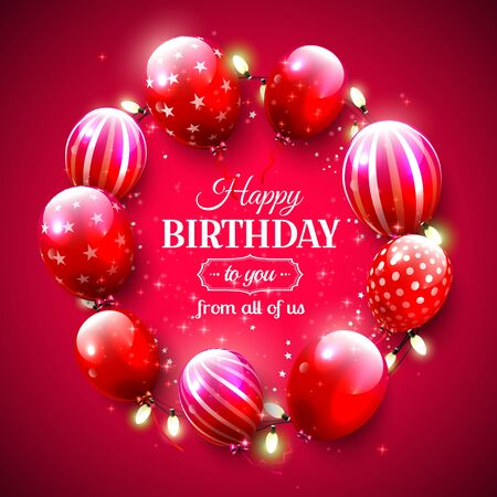 birthday party: Luxury birthday greeting card with red balloons on red background Illustration