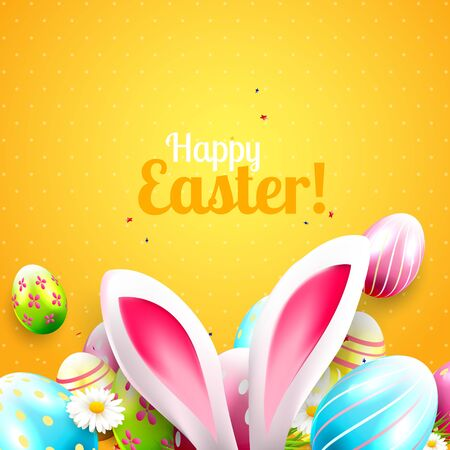 animal ear: Cute Easter greeting card with bunny ears and Easter eggs