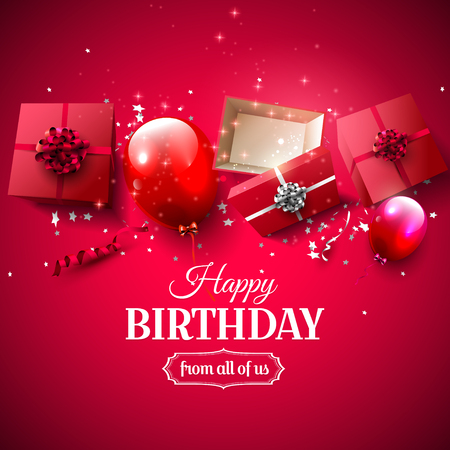 birthday party: Luxury birthday greeting card with red gift boxes and balloons on red background Illustration