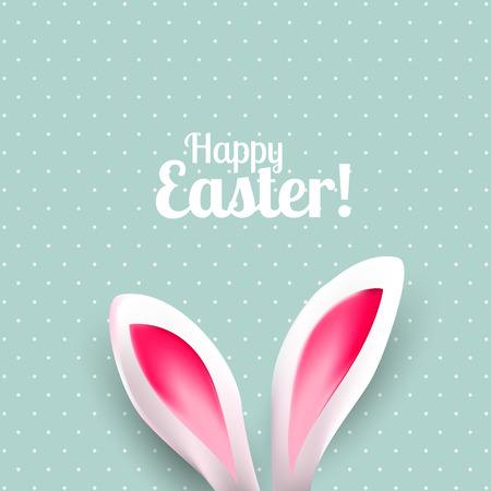 animal ear: Cute Easter greeting card with bunny ears on green background with white dots Illustration