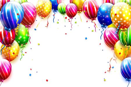 Luksusowi przyjęcie balony i confetti odizolowywający na białym tle. Szablon zaproszenia na przyjęcie lub urodziny