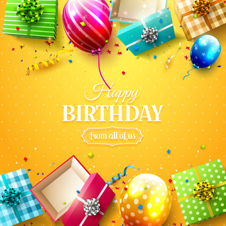 Luxury party balloons, confetti and gift boxes on orange background. Party or birthday invitation Illustration