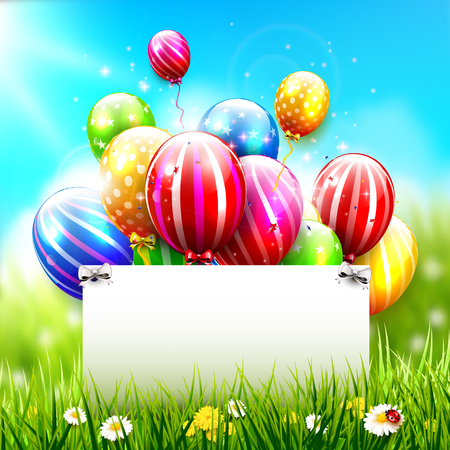 birthday party: Colorful balloons and empty paper in front of spring landscape