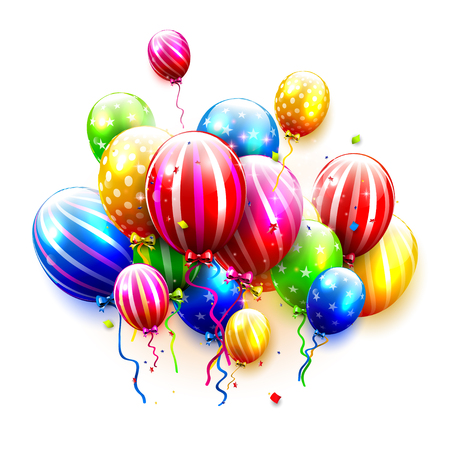 birthday party: Luxury party balloons and confetti isolated on white background. Party or birthday template Illustration