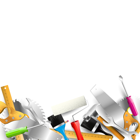 renovating: Set of hand tools isolated on white background - Carpentry template with place for text