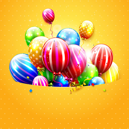red balloons: Luxury party balloons and confetti on orange background. Party or birthday template