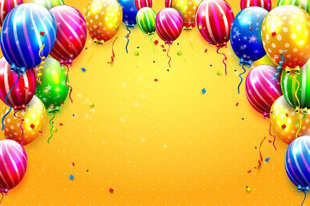 Globos y confeti del partido del lujo en fondo anaranjado. Plantilla de la invitación del partido o del cumpleaños