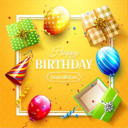 럭셔리 파티 풍선, 색종이 및 선물 상자 오렌지 배경. 파티 또는 생일 초대장