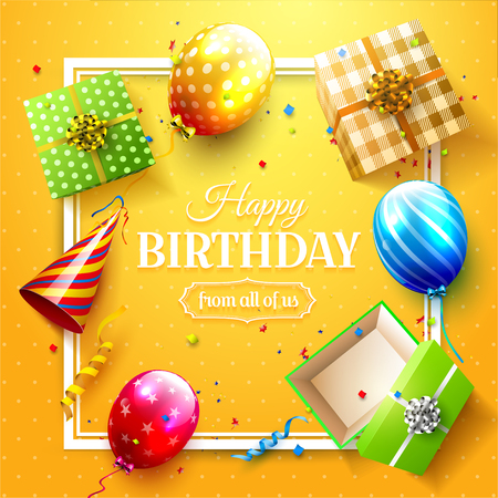 Luxury party balloons, confetti and gift boxes on orange background. Party or birthday invitation