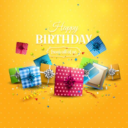 Coloridas cajas de regalo y confeti sobre fondo naranja. Plantilla de cumpleaños