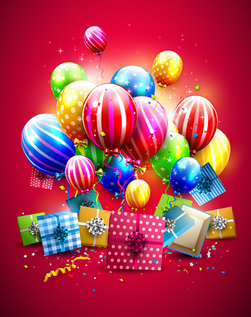 Luxury colorful balloons, confetti and gift boxes on red background.  Party or birthday poster Illustration