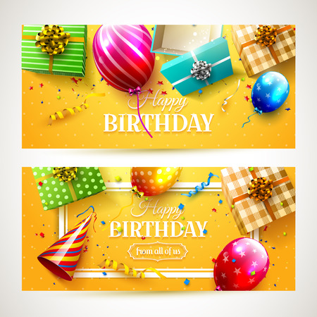 Vector set of two luxury birthday party headers Illustration