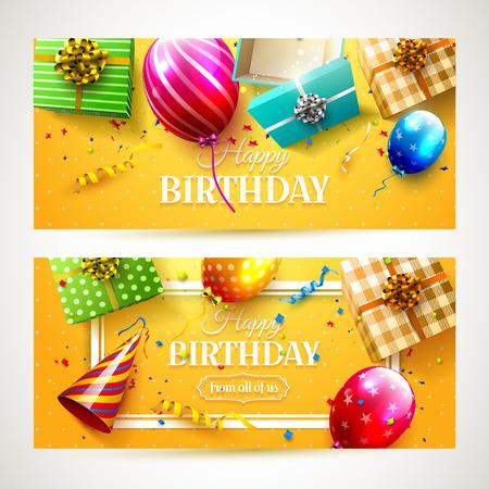 serpentinas: Vector conjunto de cabeceras de la fiesta de cumpleaños de dos de lujo