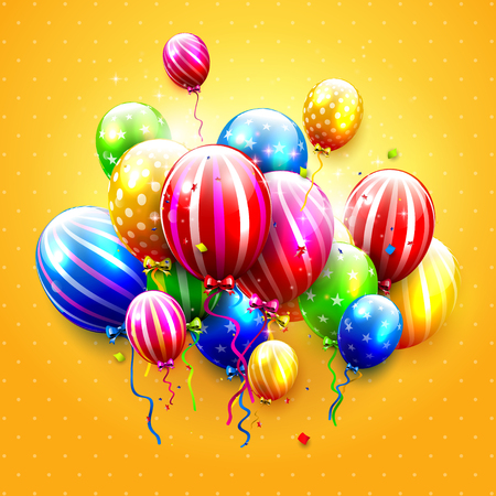streamers: Luxury party balloons and confetti on orange background. Party or birthday template