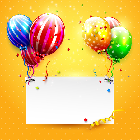 Luxury party balloons and confetti on orange background. Party or birthday invitation template