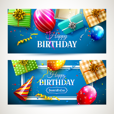 Vector conjunto de cabeceras de la fiesta de cumpleaños de dos de lujo