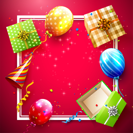 Luxury party balloons, confetti and gift boxes on red background. Party or birthday template Illustration