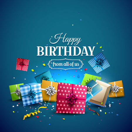 Colorful gift boxes and confetti on blue background. Birthday template