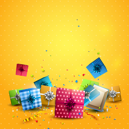 shiny background: Colorful gift boxes and confetti on orange background. Birthday template