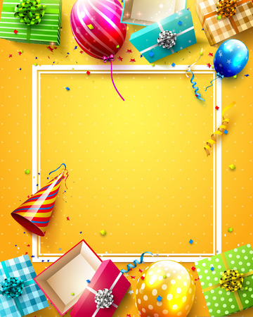 birthday party: Luxury party balloons, confetti and gift boxes on orange background. Party or birthday template with place for your message