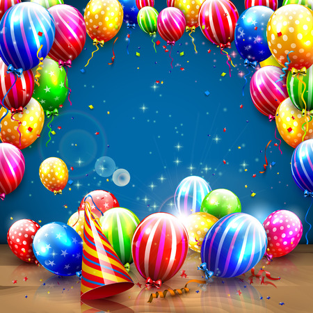 serpentinas: Luxury birthday template with colorful balloons on blue background