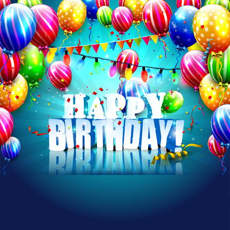 birthday party: Luxury birthday template with colorful balloons on blue background