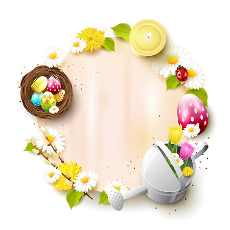 Cute Easter template with decorations and empty paper with place for your text Illustration