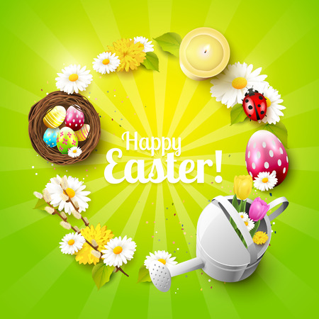 Cute Easter background with flowers, Easter eggs, ladybug and watering can on green background