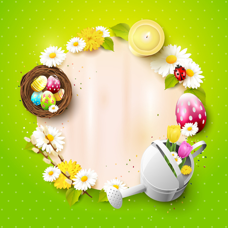 Cute Easter background with decorations and empty paper with place for your text