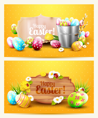 Easter horizontal headers with wooden sign, paper label and Easter decorations on orange background