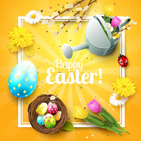 ladybird: Cute Easter greeting card with flowers, Easter eggs and watering can on blue background Illustration