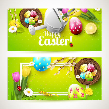 festive: Easter headers with flowers, Easter eggs and watering can on green background