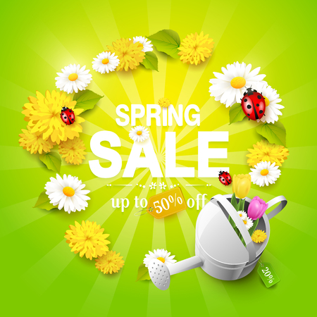 Spring sale flyer - flowers, ladybugs and watering can with tulips on green background