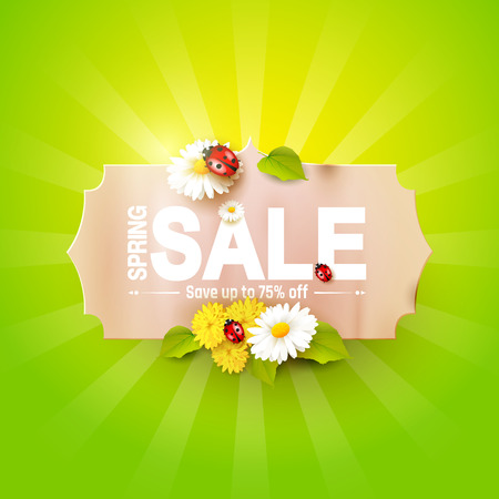 Spring sale flyer - paper label with flowers and ladybugs on green background Illustration