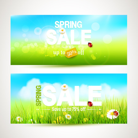 Vector set of two spring sale headers with sunny meadow Illustration